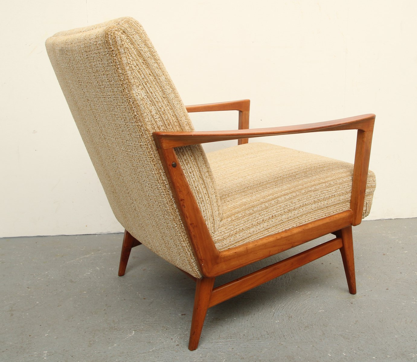 Mid Century Solid Cherry Wood Lounge Chair 1950s For Sale At Pamono