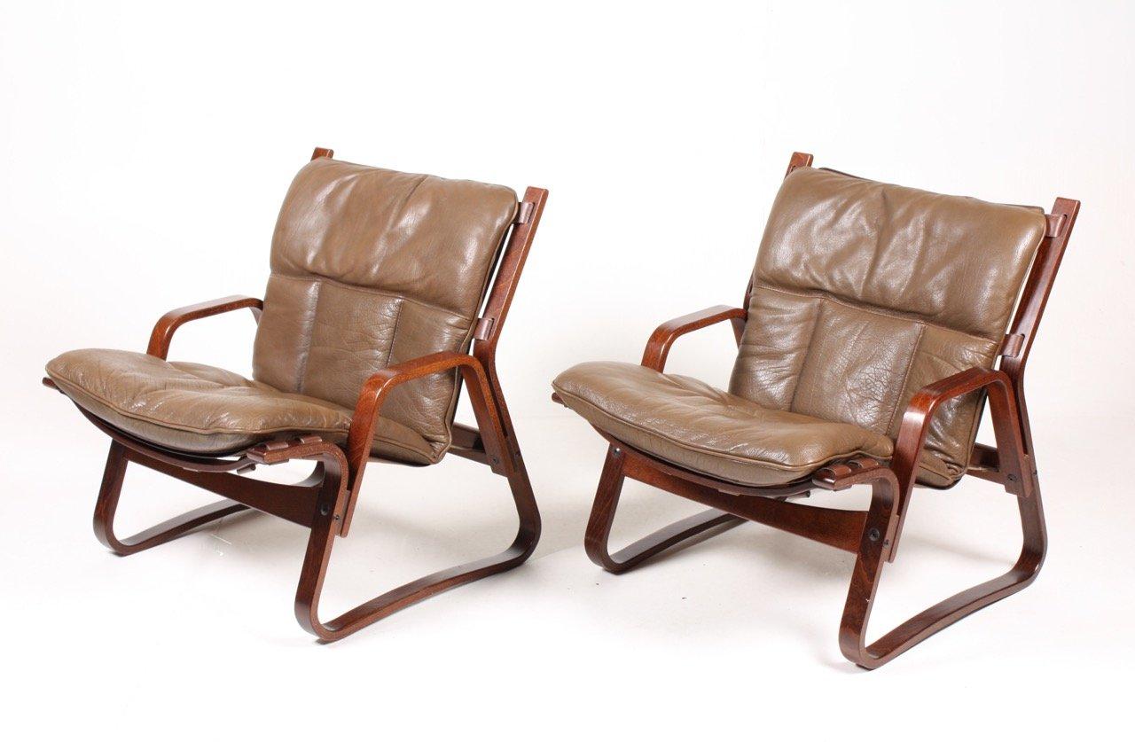 mid century bugholz leder armlehnst hle 1960er 2er set. Black Bedroom Furniture Sets. Home Design Ideas