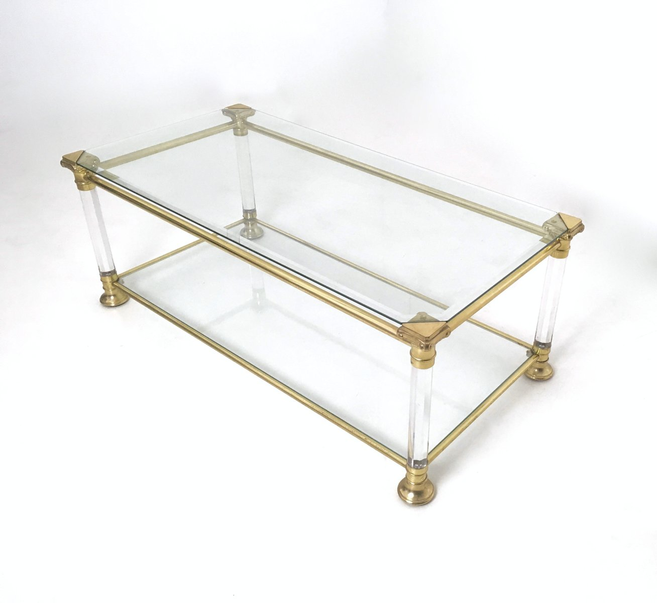 Vintage Italian Crystal Plexiglass And Brass Coffee Table 1980s For Sale At Pamono