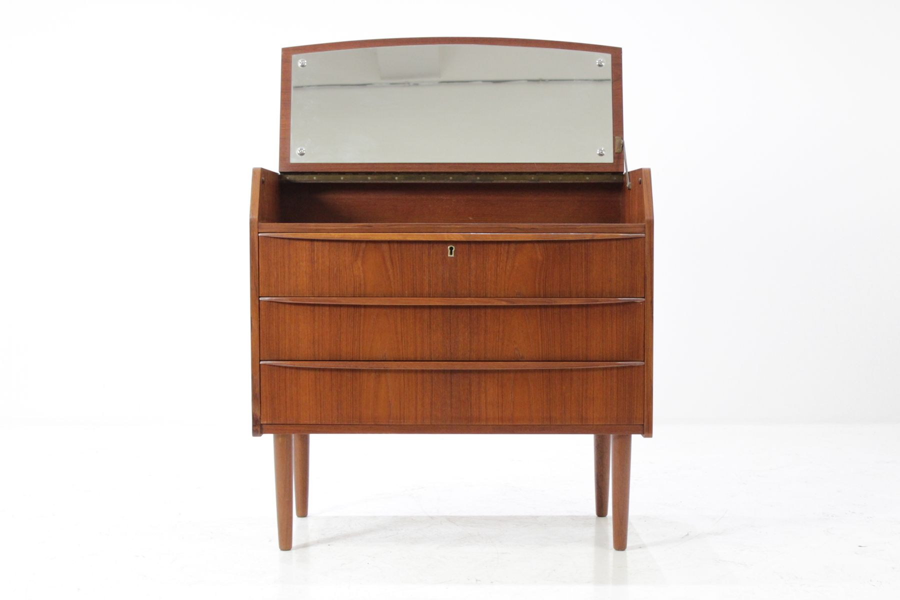 Mid Century Danish Teak Dresser With Mirror 1960s For