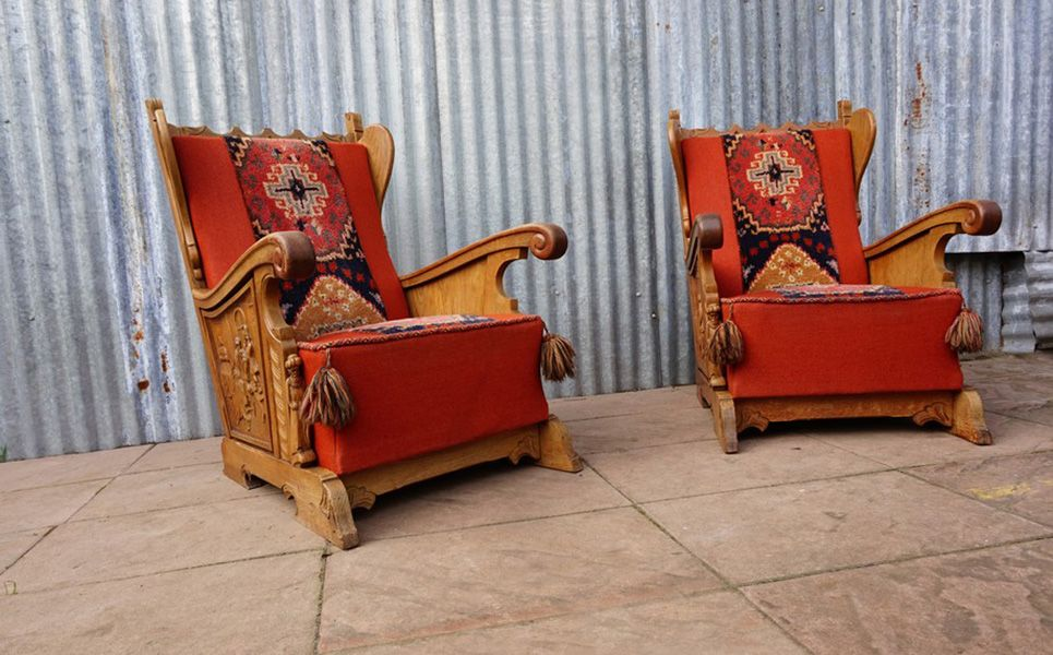 Price per set - Vintage Rustic Bruegel Carved Sofa And 2 Armchairs, 1950s, Set Of