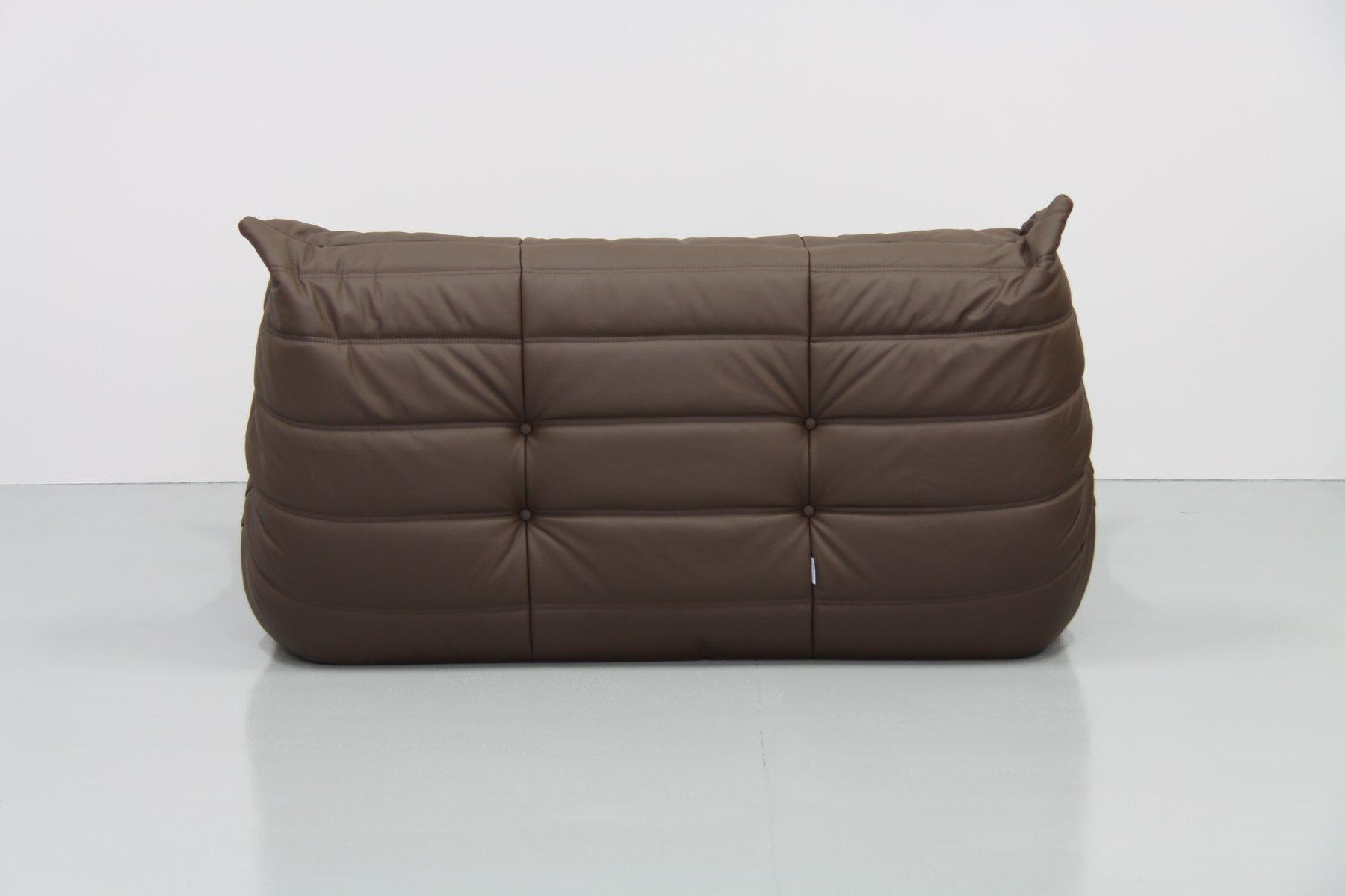 ensemble de salon mid century togo en cuir marron par michel ducaroy pour ligne roset 1970s en. Black Bedroom Furniture Sets. Home Design Ideas