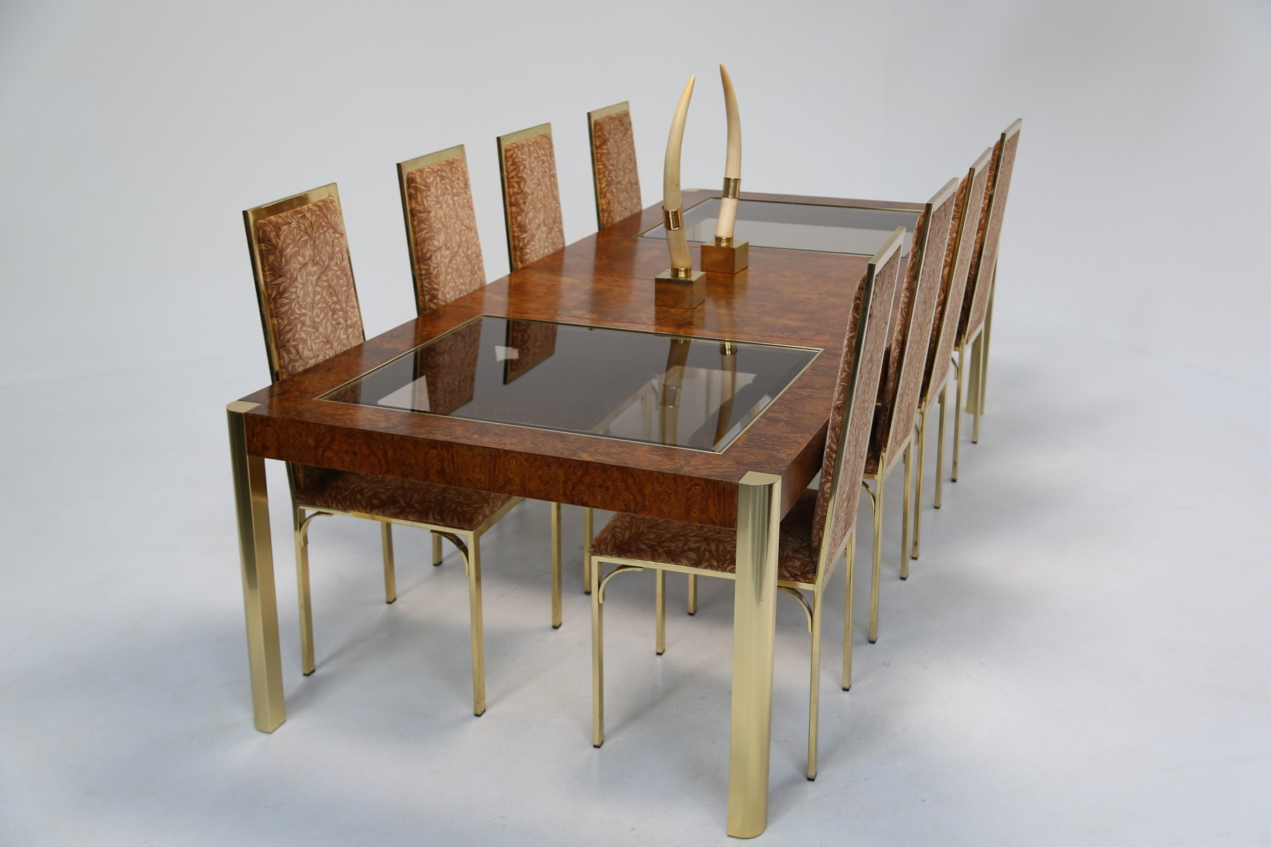 Burl Brass Glass Dining Table from Century Furniture 1970s for