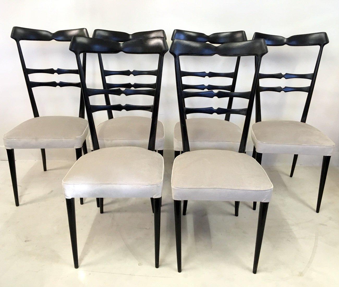italienische ebonisierte vintage esszimmerst hle 6er set. Black Bedroom Furniture Sets. Home Design Ideas