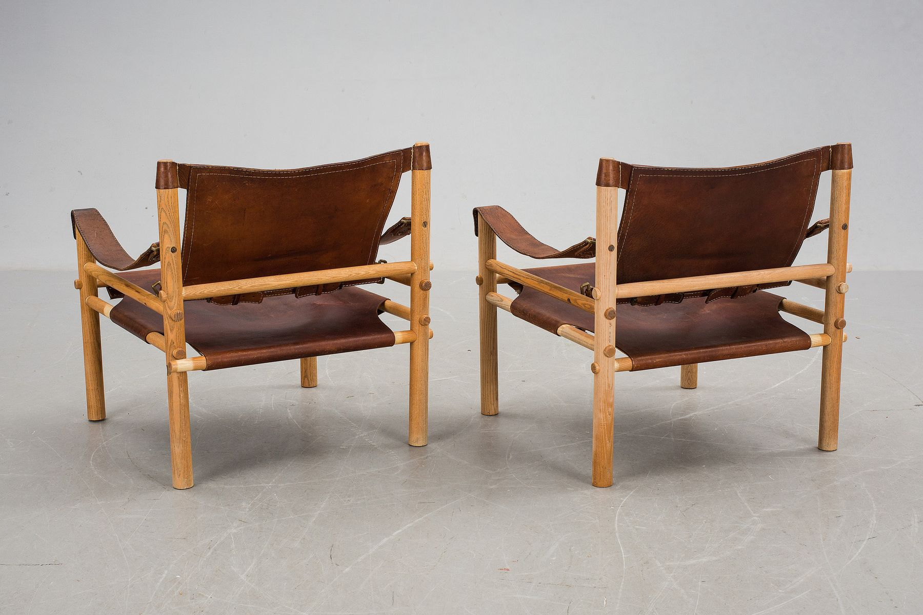 Pine & Brown Leather Safari Chairs from Arne Norell 1960s Set of
