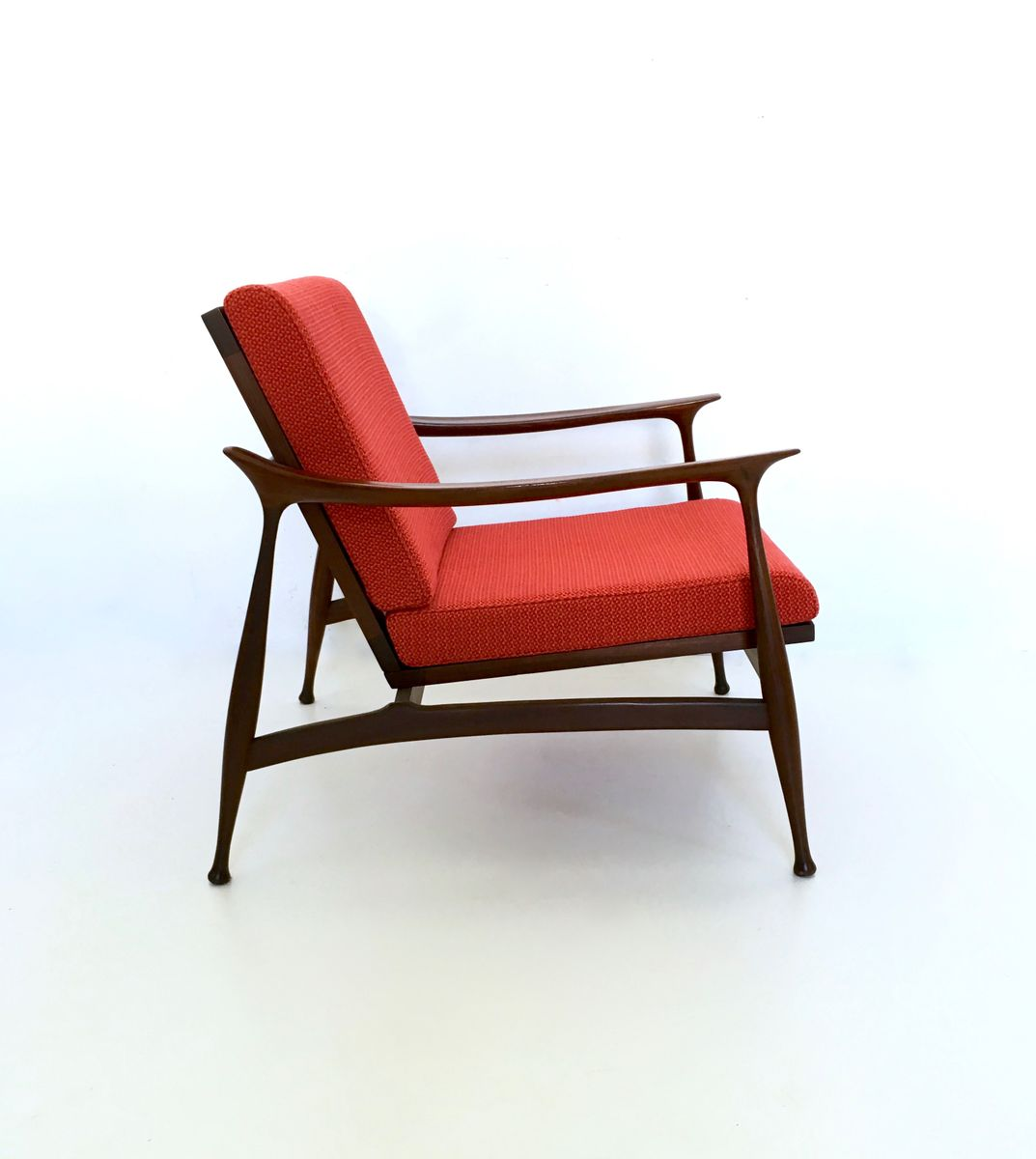 Italian Red Fabric And Solid Wood Armchairs By Fratelli