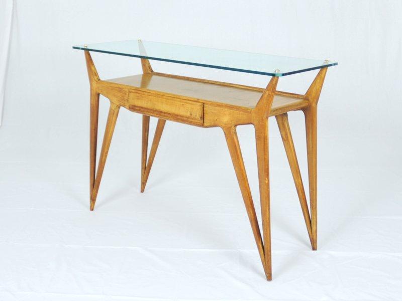 Consolle in legno e vetro italia anni 39 40 in vendita su for Consolle vetro e legno