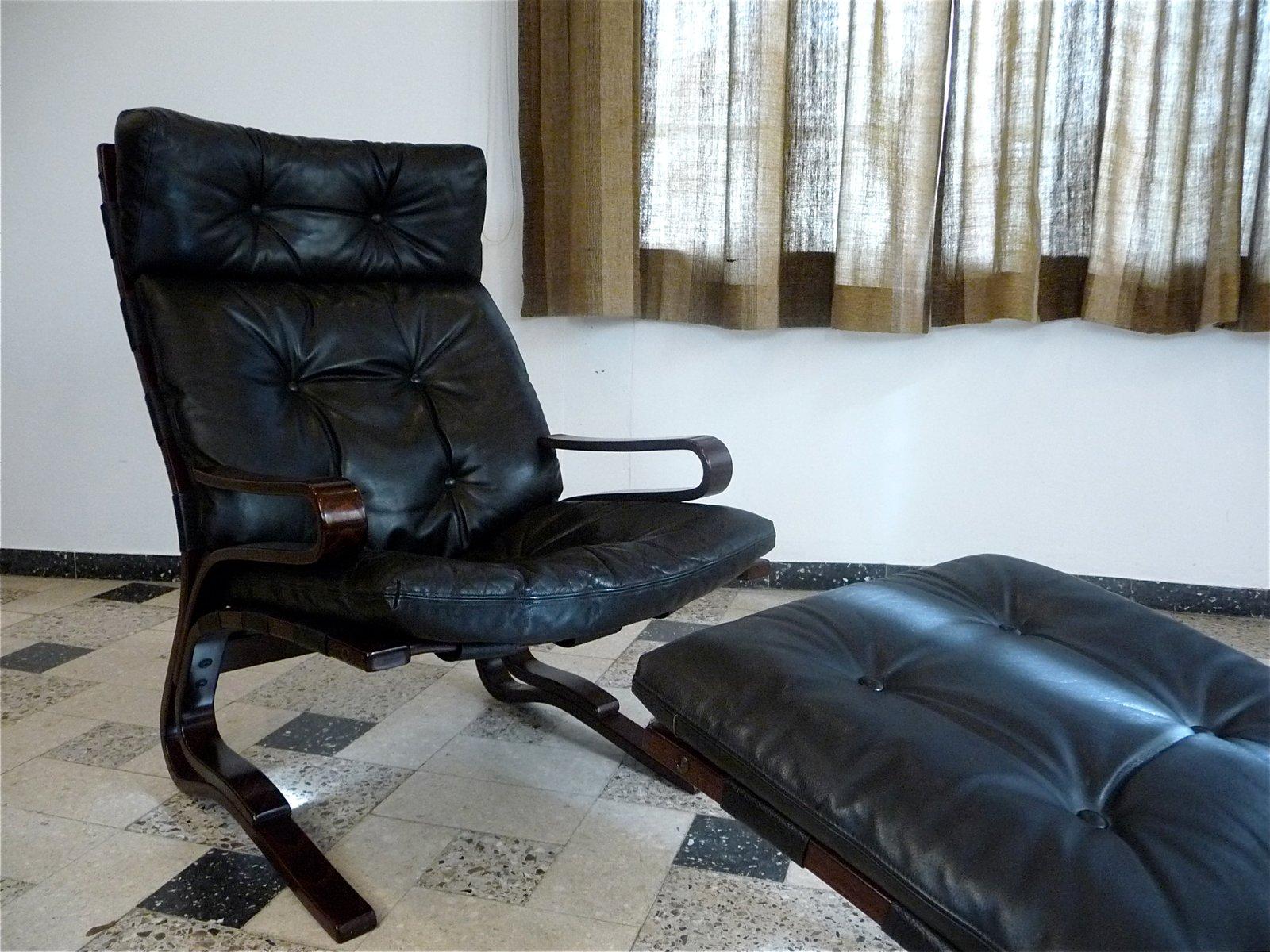 Kengu Leather Lounge Chair u0026 Foot Stool by Elsa u0026 Nordahl Solheim for Oddvin Rykken 1960s & Kengu Leather Lounge Chair u0026 Foot Stool by Elsa u0026 Nordahl Solheim ... islam-shia.org
