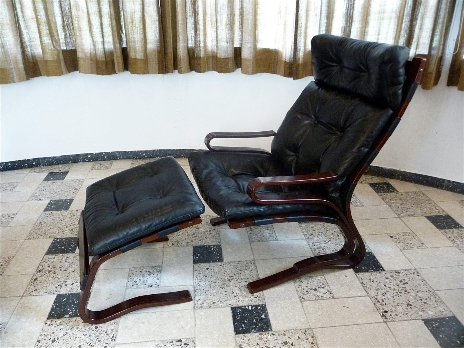 Kengu Leather Lounge Chair Foot Stool By Elsa Nordahl Solheim For Oddvin Rykken 1960s For