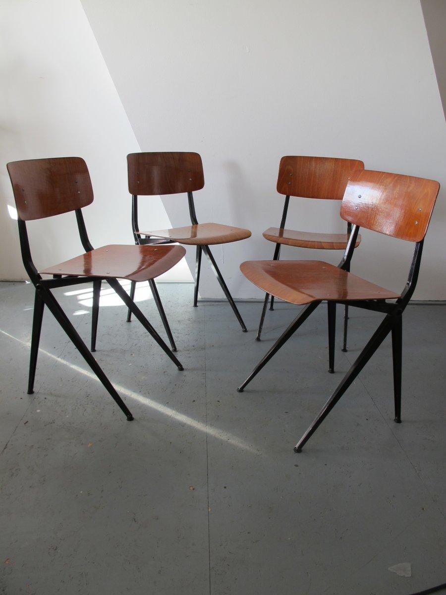chaises mid century en acier industriel et bois de marko set de 4 en vente sur pamono. Black Bedroom Furniture Sets. Home Design Ideas