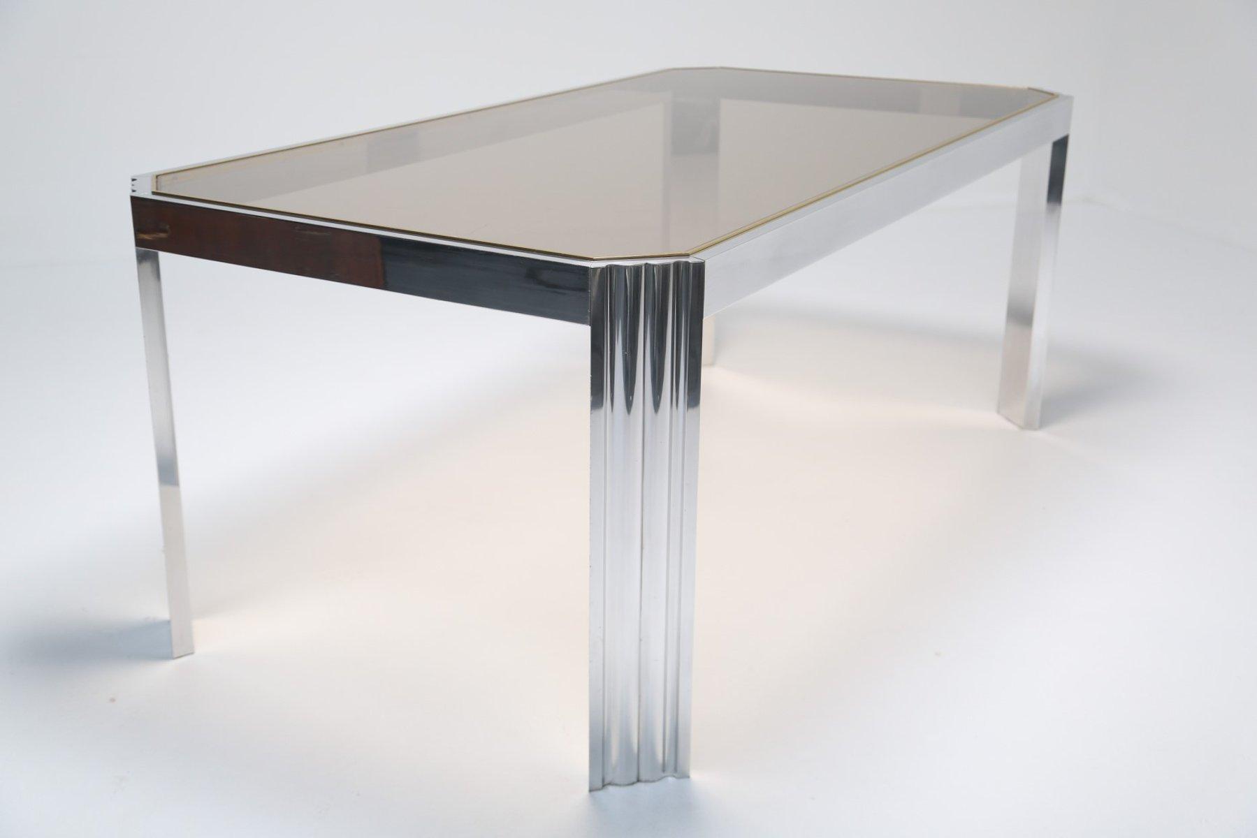 Nice Aluminium U0026 Smoked Glass Dining Table, 1970s Part 7