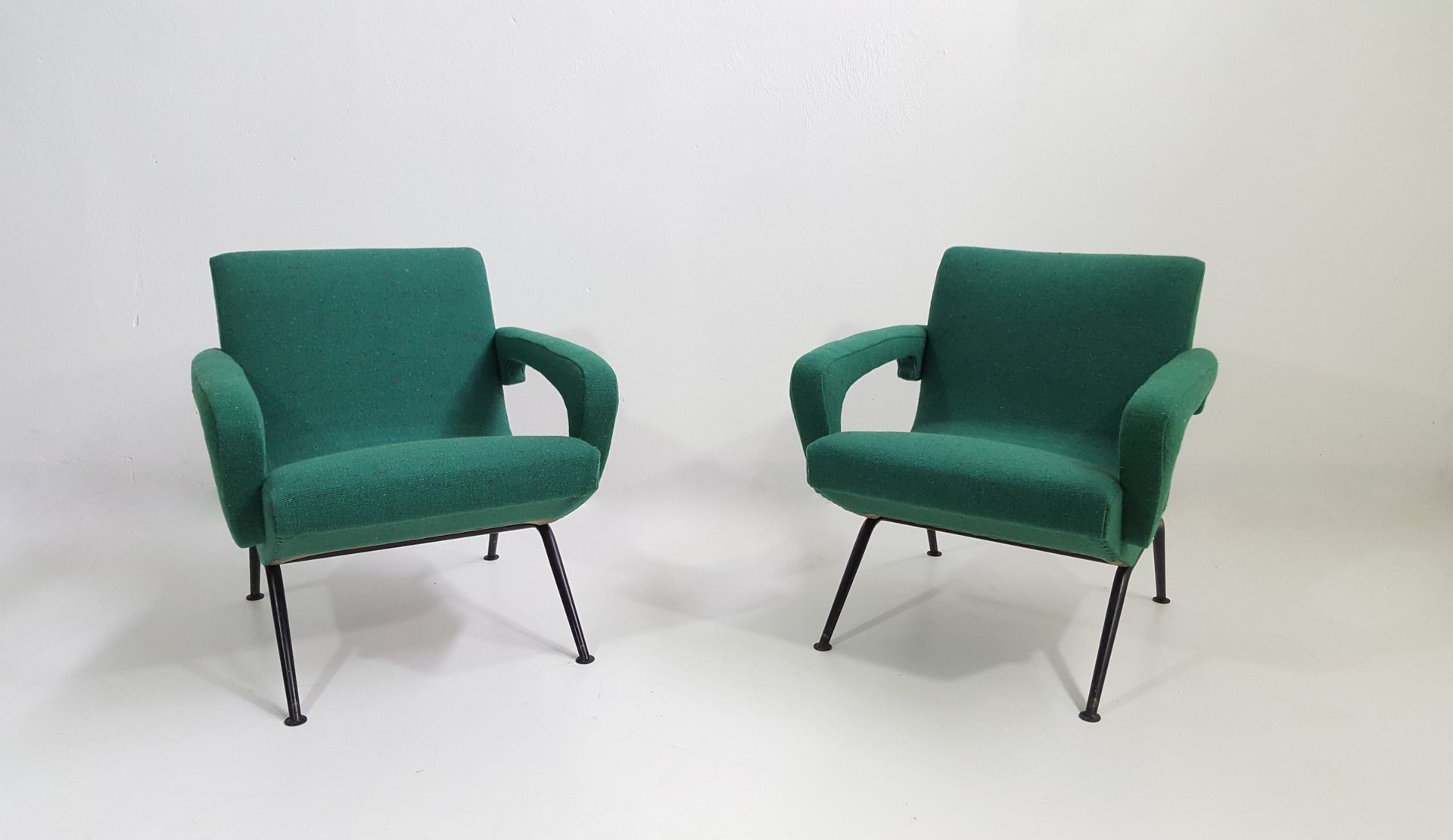 green armchairs 1950s set of 2 for sale at pamono