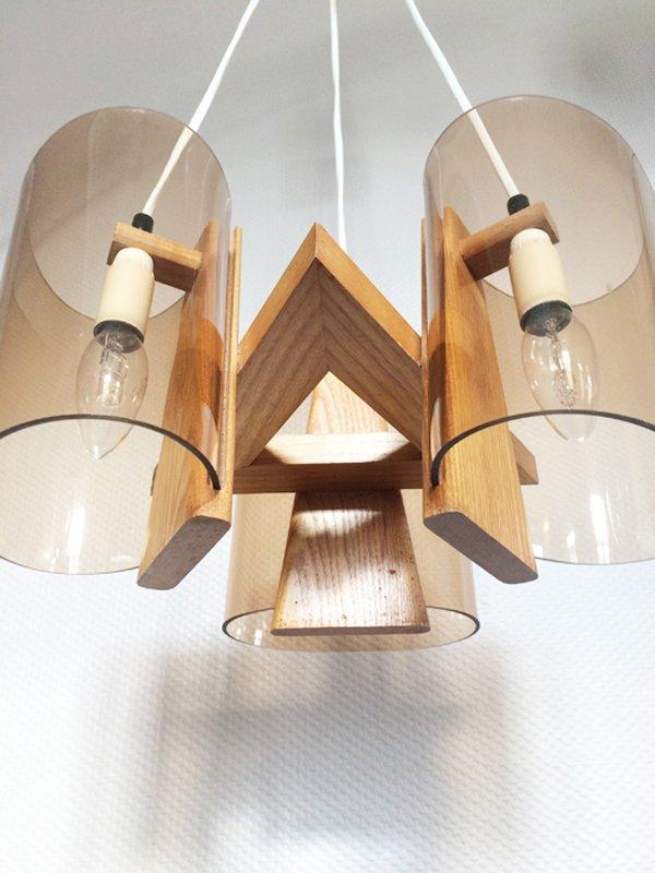 skandinavische plexiglas holz h ngelampe 1970er bei pamono kaufen. Black Bedroom Furniture Sets. Home Design Ideas