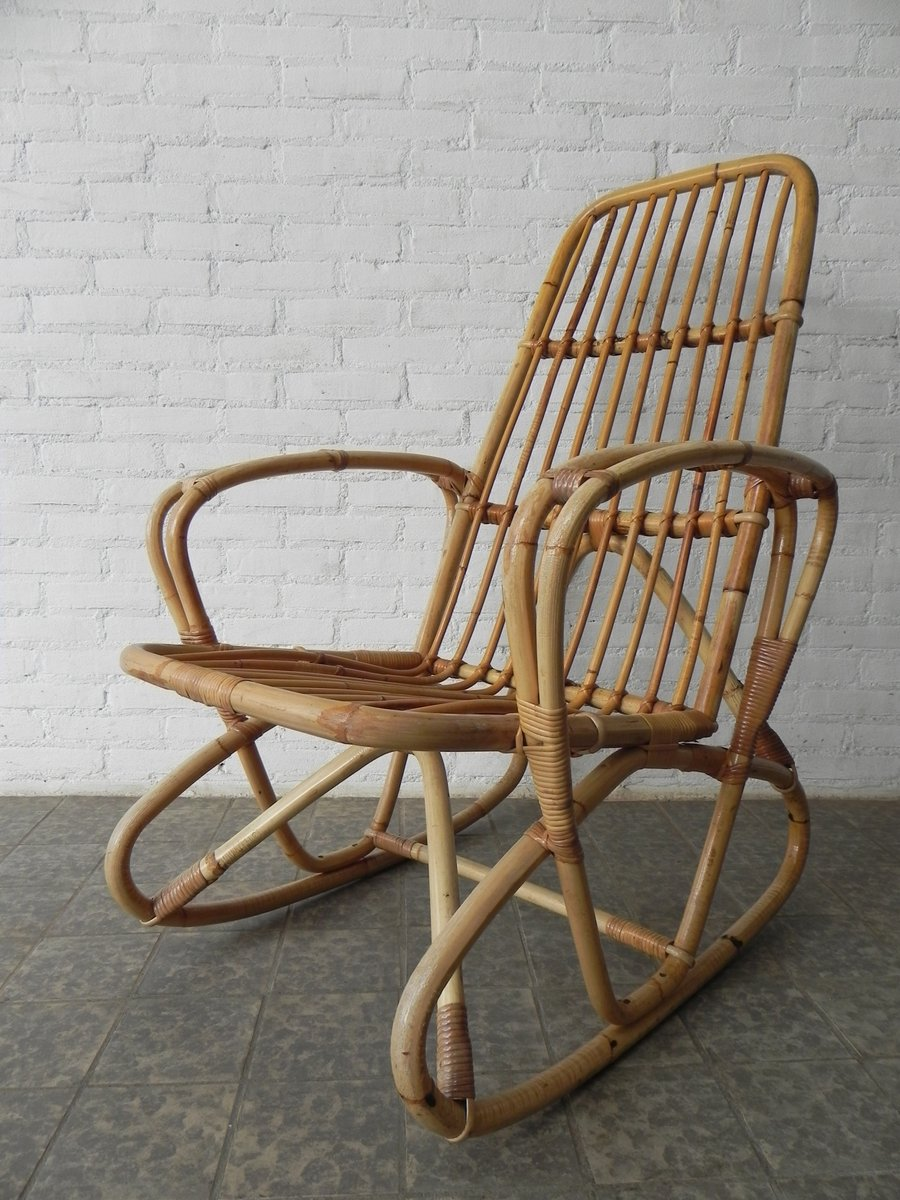 Vintage bamboo and rattan rocking chair for sale at pamono for Schaukelstuhl sale