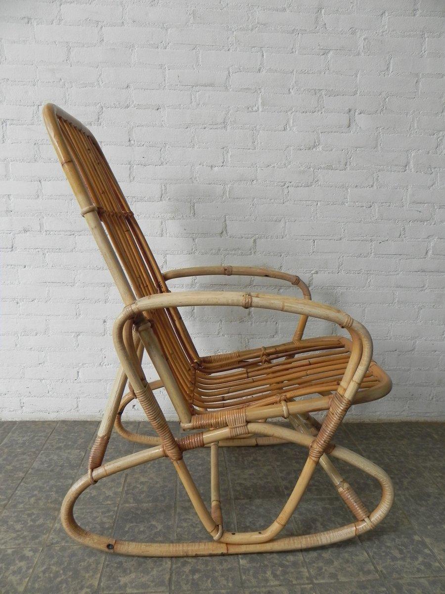vintage bambus und rattan schaukelstuhl bei pamono kaufen. Black Bedroom Furniture Sets. Home Design Ideas