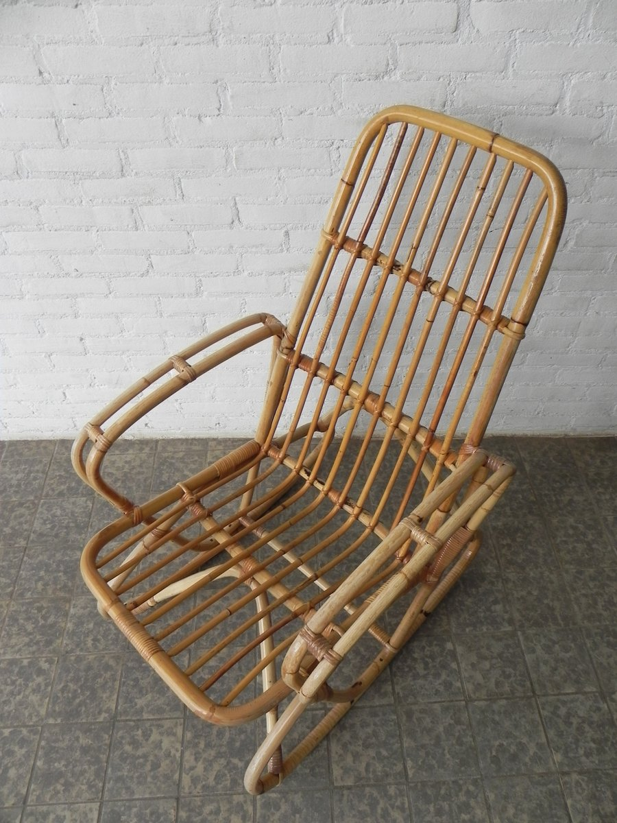 Vintage Bamboo and Rattan Rocking Chair for sale at Pamono