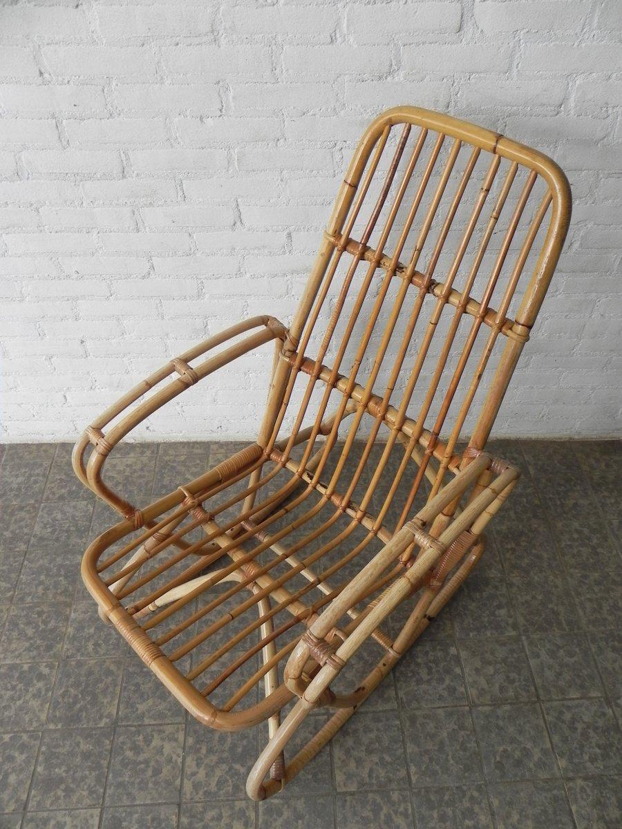 Vintage bambus und rattan schaukelstuhl bei pamono kaufen for Schaukelstuhl bambus