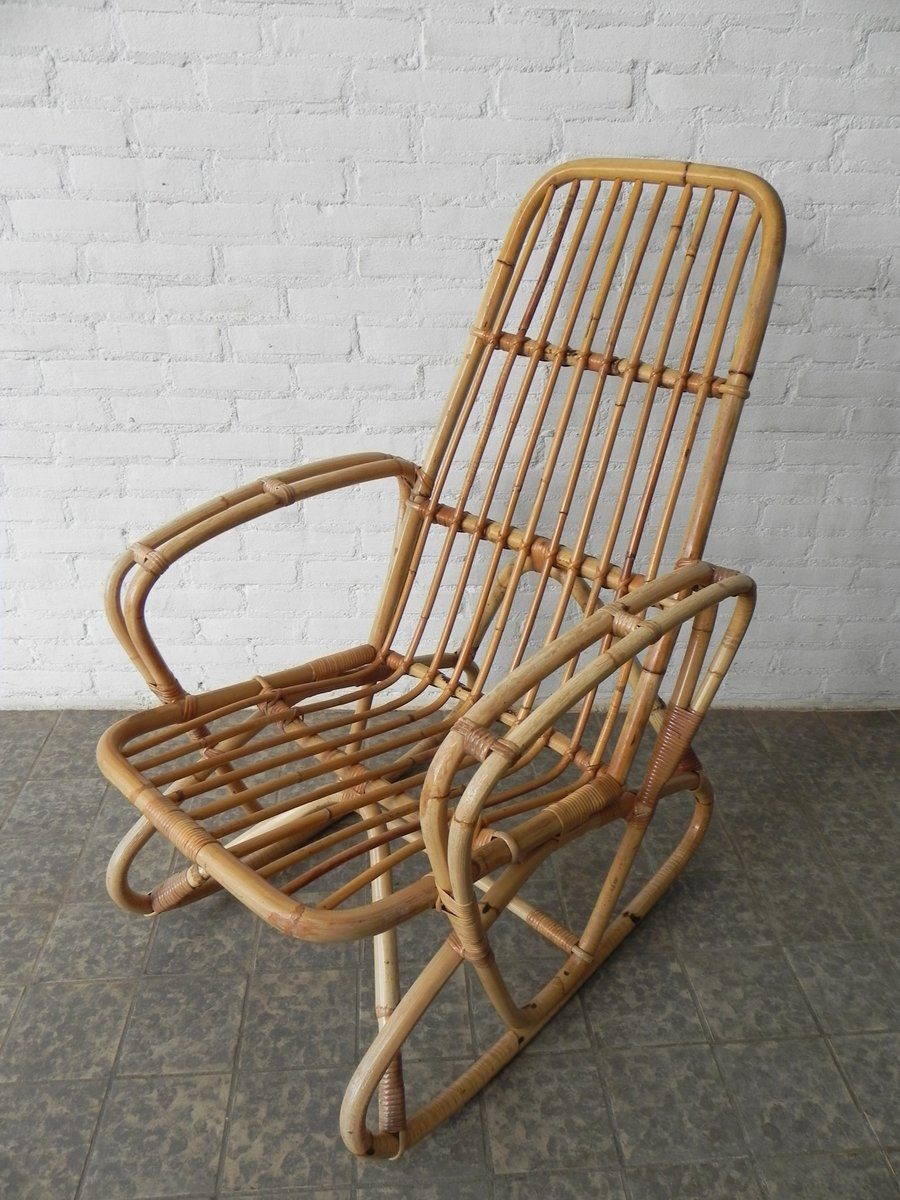 Beau Vintage Bamboo And Rattan Rocking Chair For Sale At Pamono