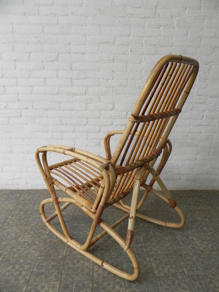 vintage bamboo and rattan rocking chair for sale at pamono. Black Bedroom Furniture Sets. Home Design Ideas