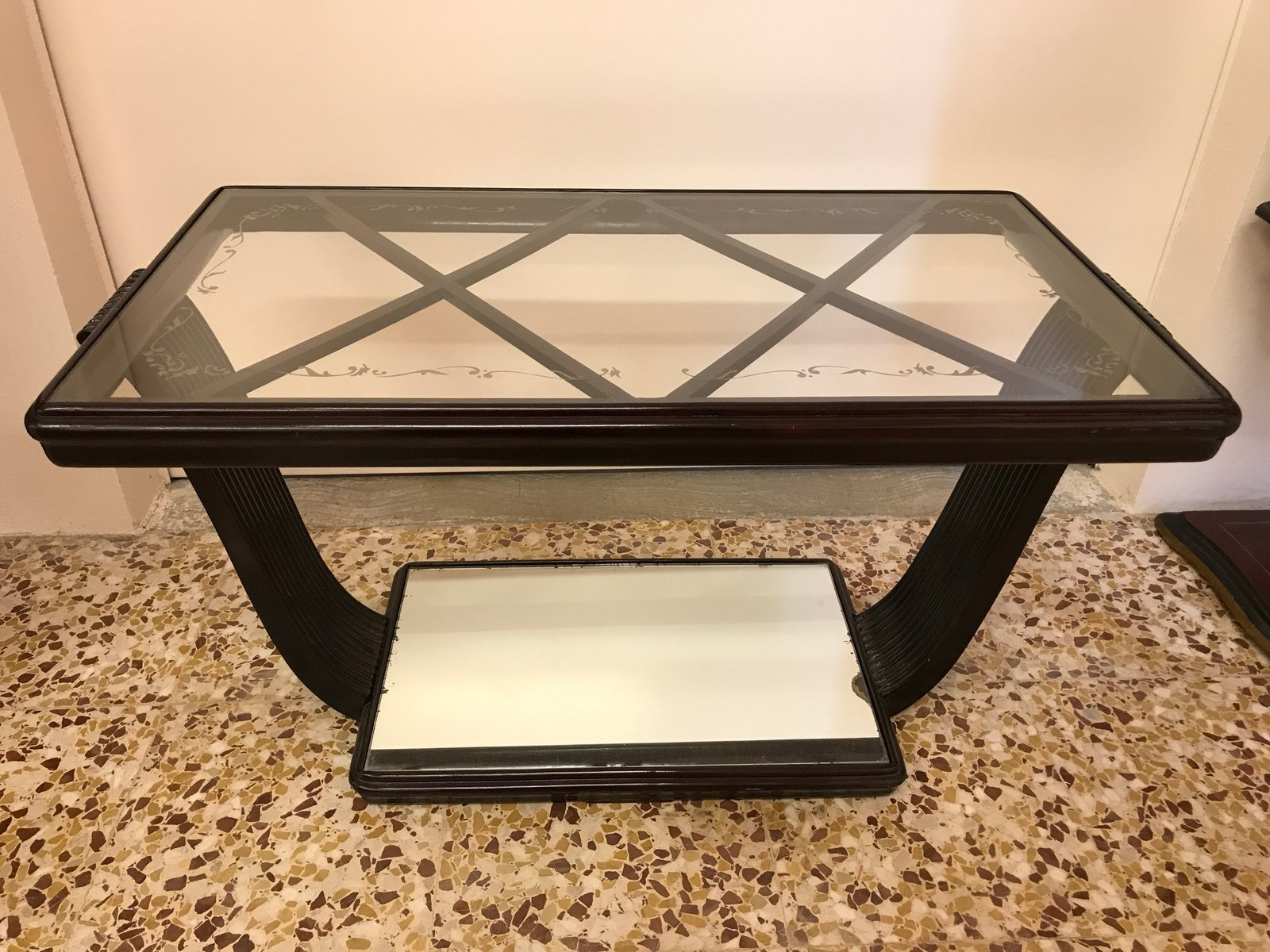 Italian Walnut Glass Coffee Table 1940s For Sale At Pamono