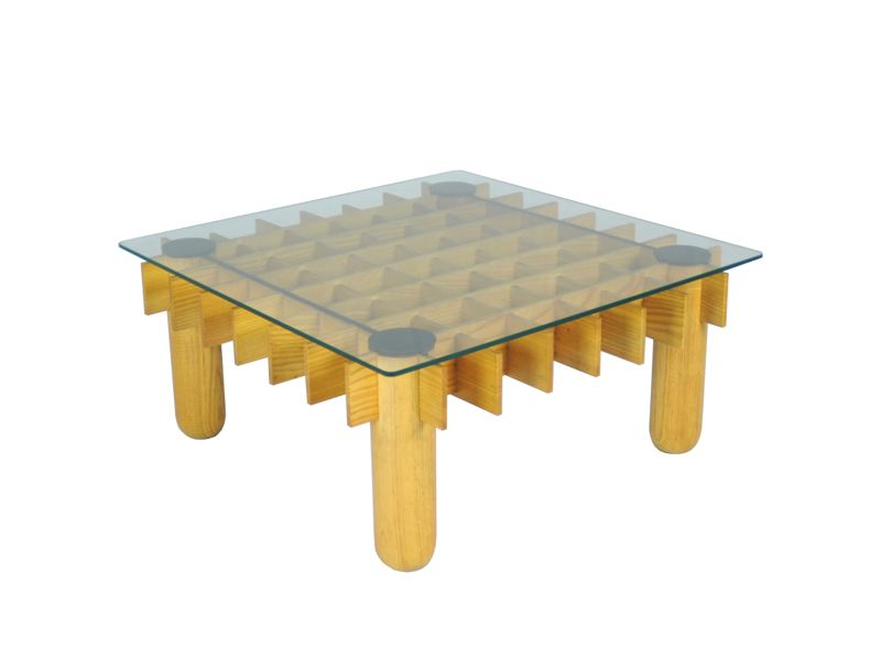 Vintage Beech And Glass Coffee Table 1970s For Sale At Pamono