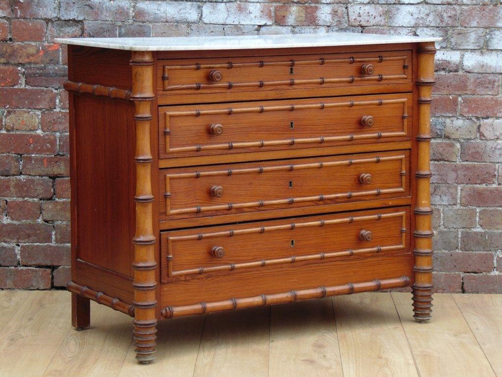 commode tiroirs antique en faux bambou en vente sur pamono. Black Bedroom Furniture Sets. Home Design Ideas