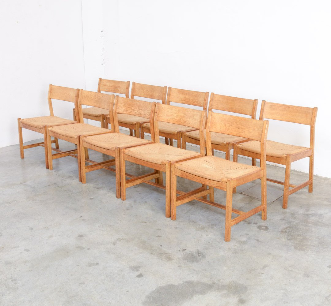 Mid Century Dining Chairs By Borge Mogensen For C.M. Madsens Fabrikker, Set  Of 10
