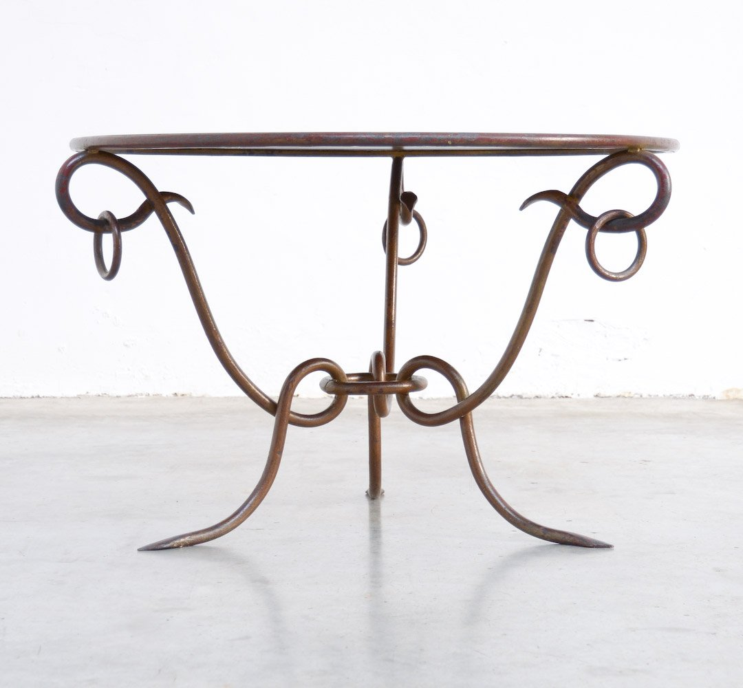 Vintage Coffee Table In Gilded Forged Iron By René Drouet