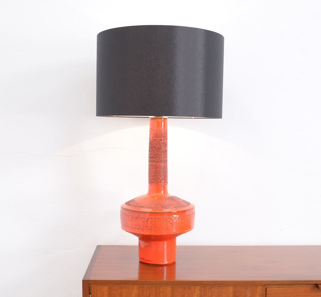 Vintage Red Ceramic Table Lamp By Rogier Vandeweghe For Amphora