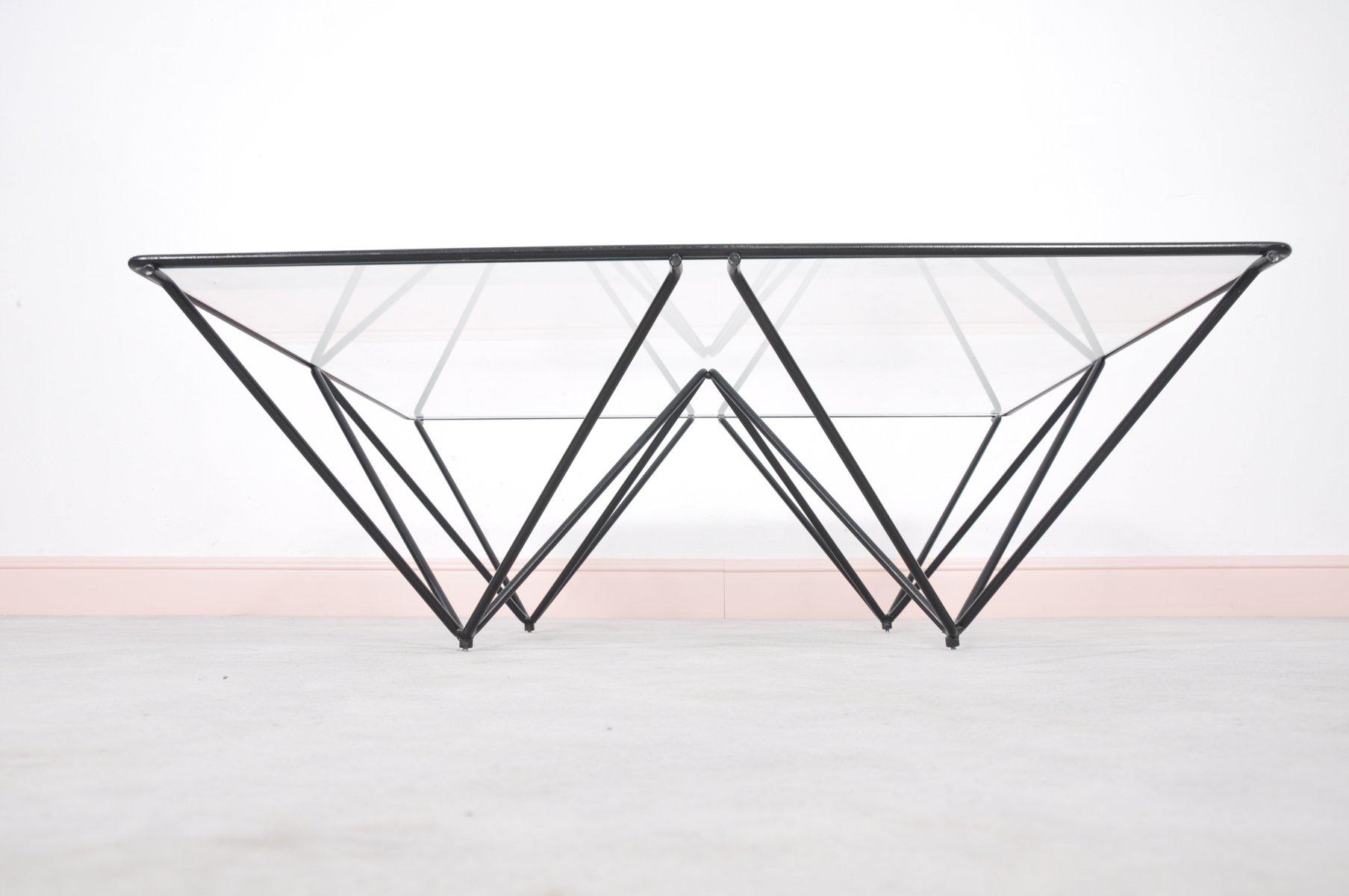 table basse vintage alanda avec plateau en verre par paolo piva pour b b italia 1980s en vente. Black Bedroom Furniture Sets. Home Design Ideas