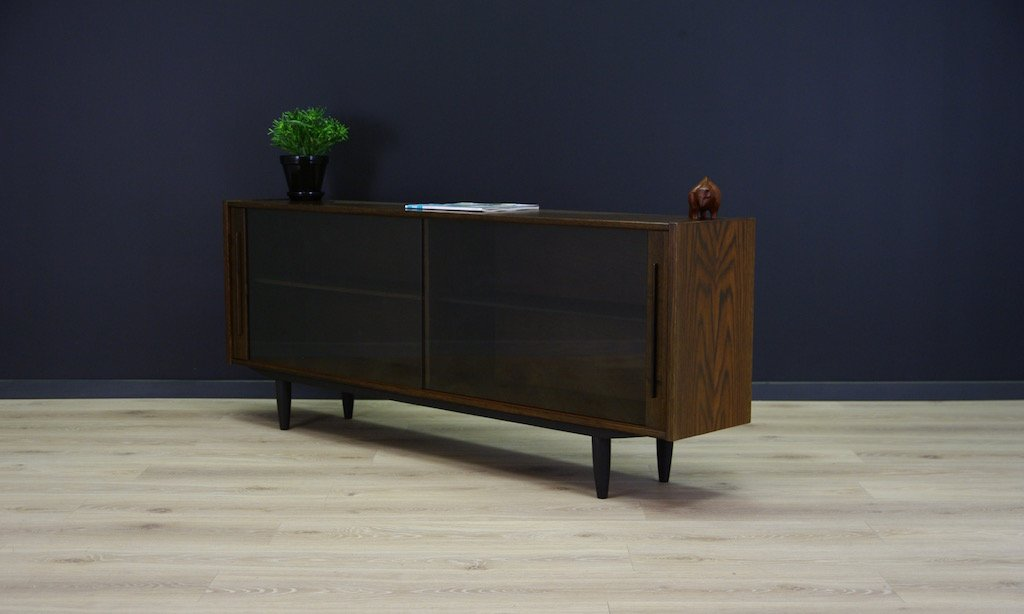 Danish Oak Sideboard with Glass Sliding Doors, 1970s for sale at Pamono