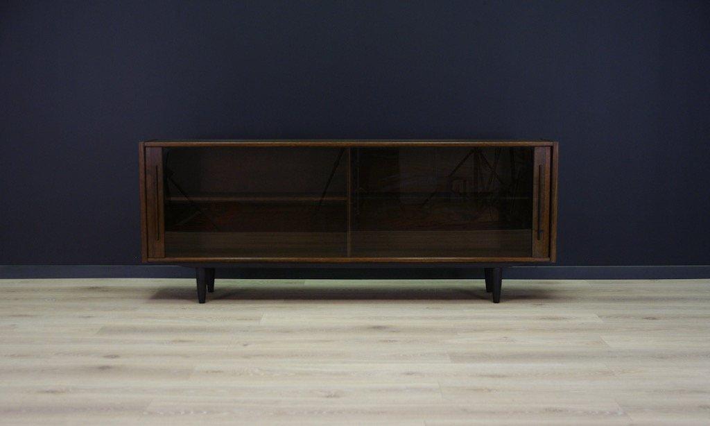 Danish oak sideboard with glass sliding doors 1970s for for Sliding glass doors for sale