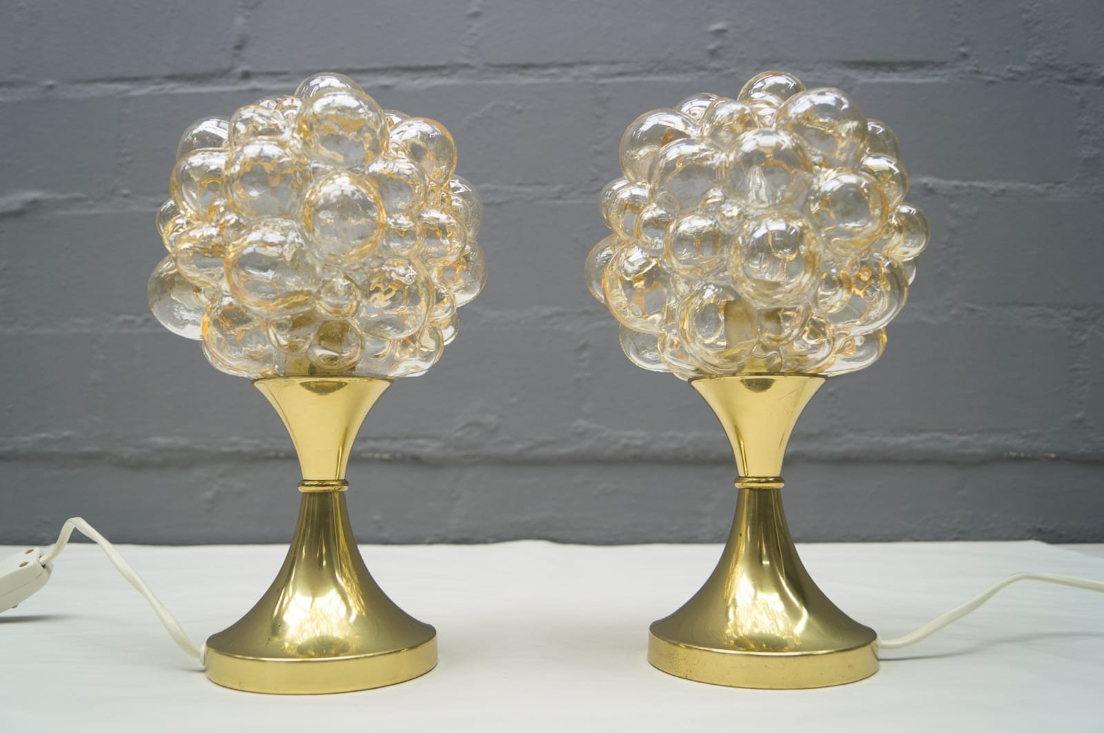 Vintage Bubble Glass Table Lamps by Helena Tynell for Limburg, Set ...