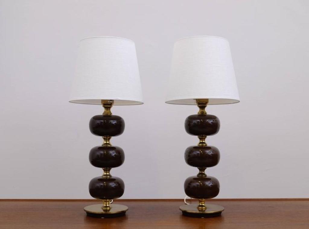 Schwedische Tischlampen Von Tranås Stilarmatur, 1950er, 2er Set