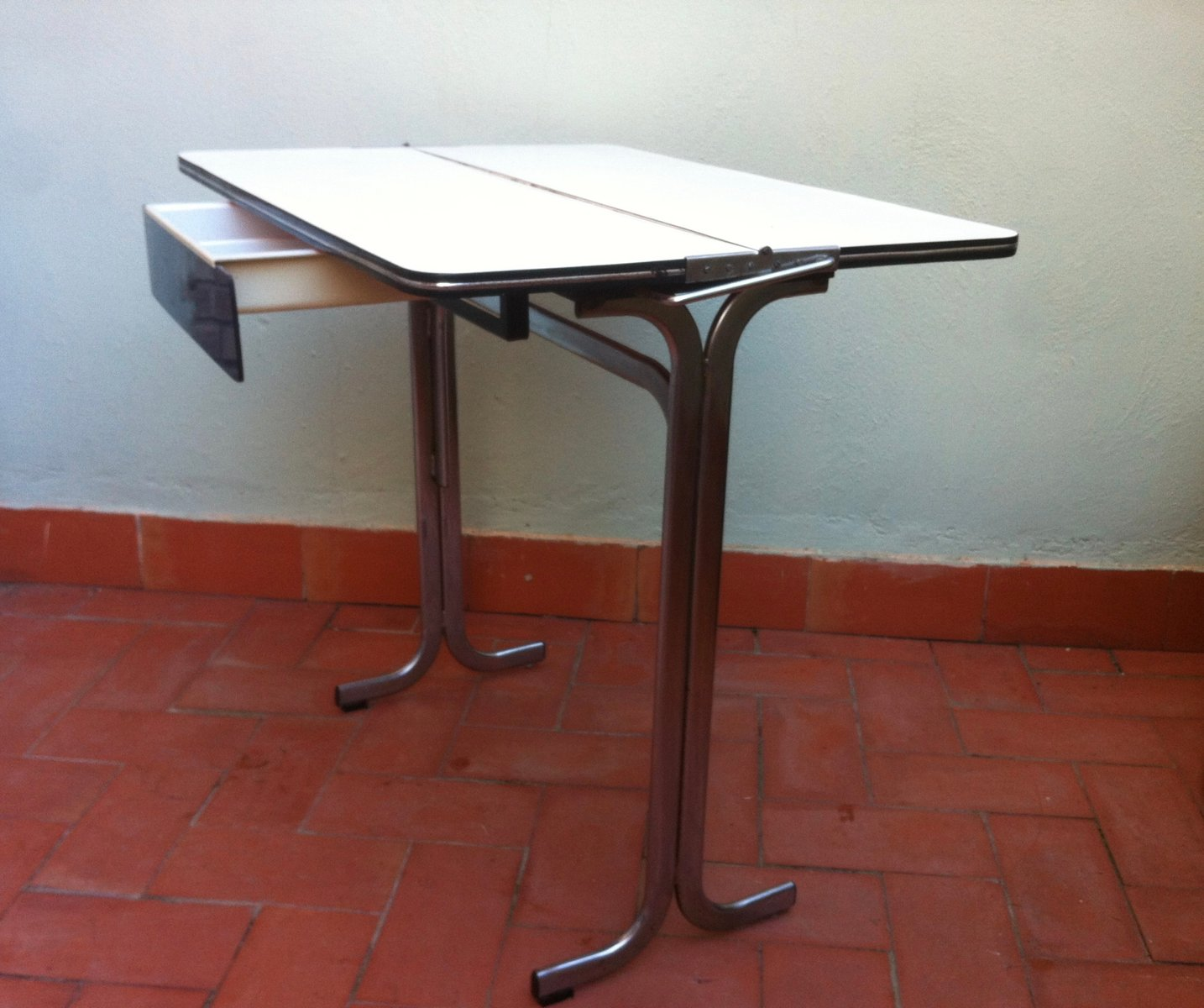 Belgian Formica Folding Kitchen Table With Drawer, 1960s