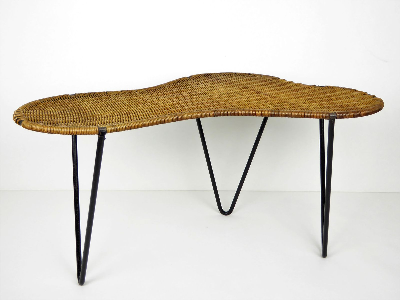 Vintage Rattan And Black Metal Rognon Coffee Table By