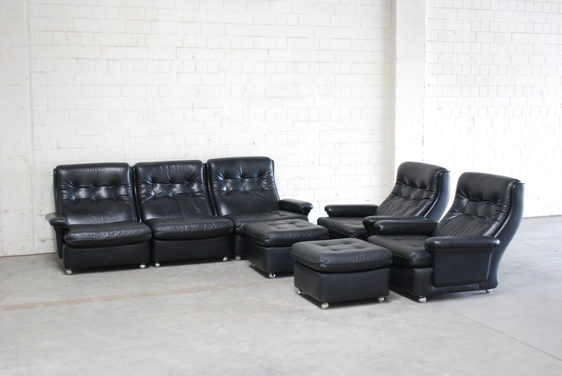 Living room suite leather sofa 2 lounge chairs and 2 for Leather living room suit