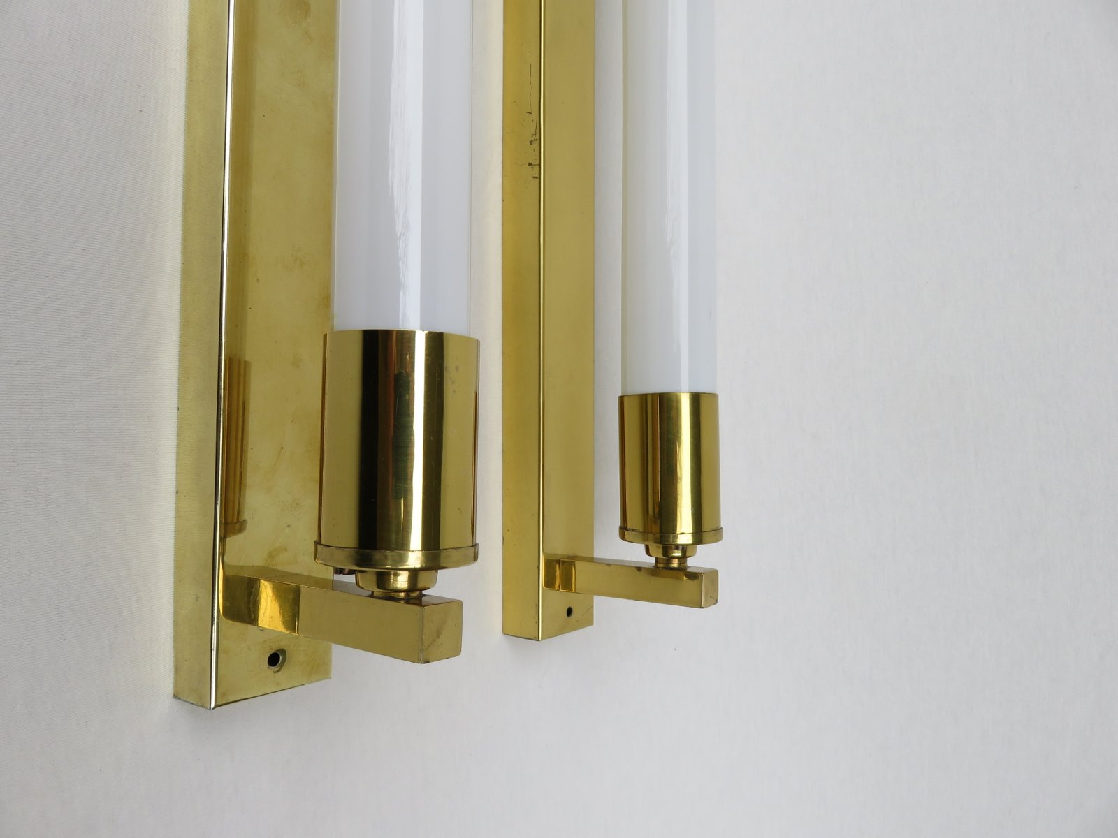 Vintage Brass Wall Lamps : Vintage Art Deco Brass Festoon Wall Lamps, Set of 2 for sale at Pamono