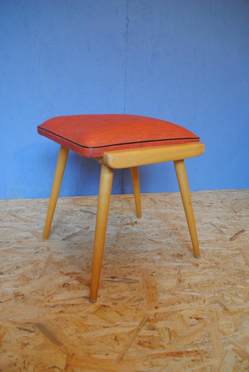 mid century hocker aus holz vinyl 1950er 2er set bei. Black Bedroom Furniture Sets. Home Design Ideas
