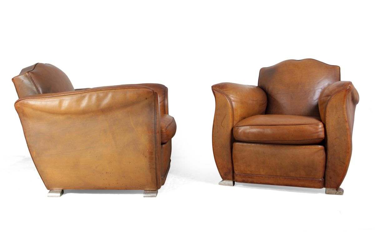 french leather club chairs 1960s set of 2 - Brown Leather Club Chair