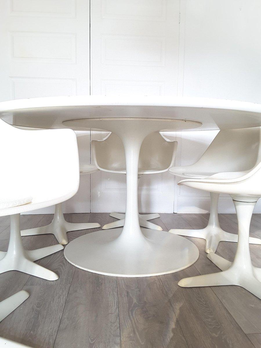 gro er runder tulip esstisch und sechs st hle von maurice burke f r arkana 1970er bei pamono kaufen. Black Bedroom Furniture Sets. Home Design Ideas