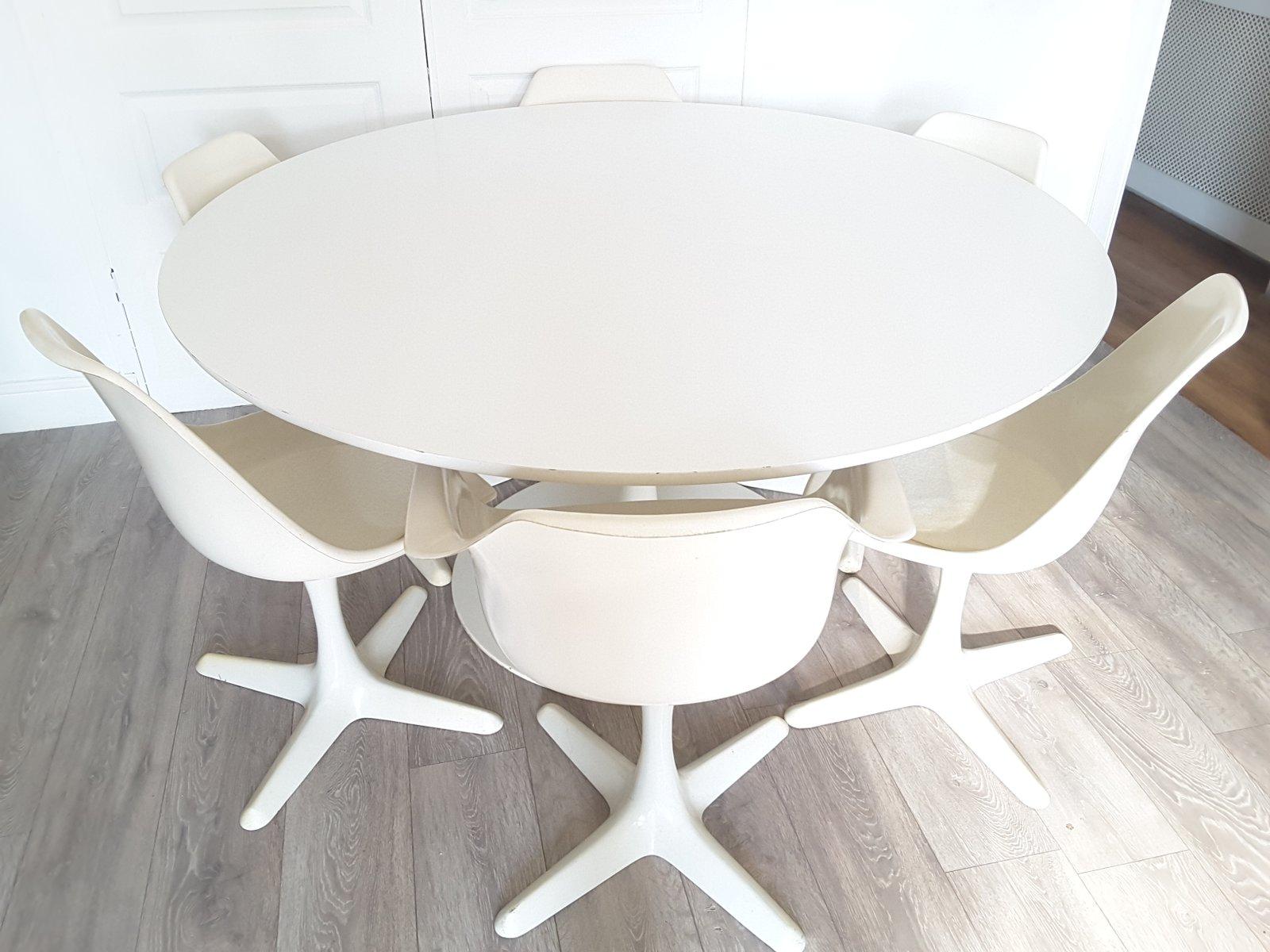grande table de salle manger ronde tulip et six chaises par maurice burke pour arkana 1970s