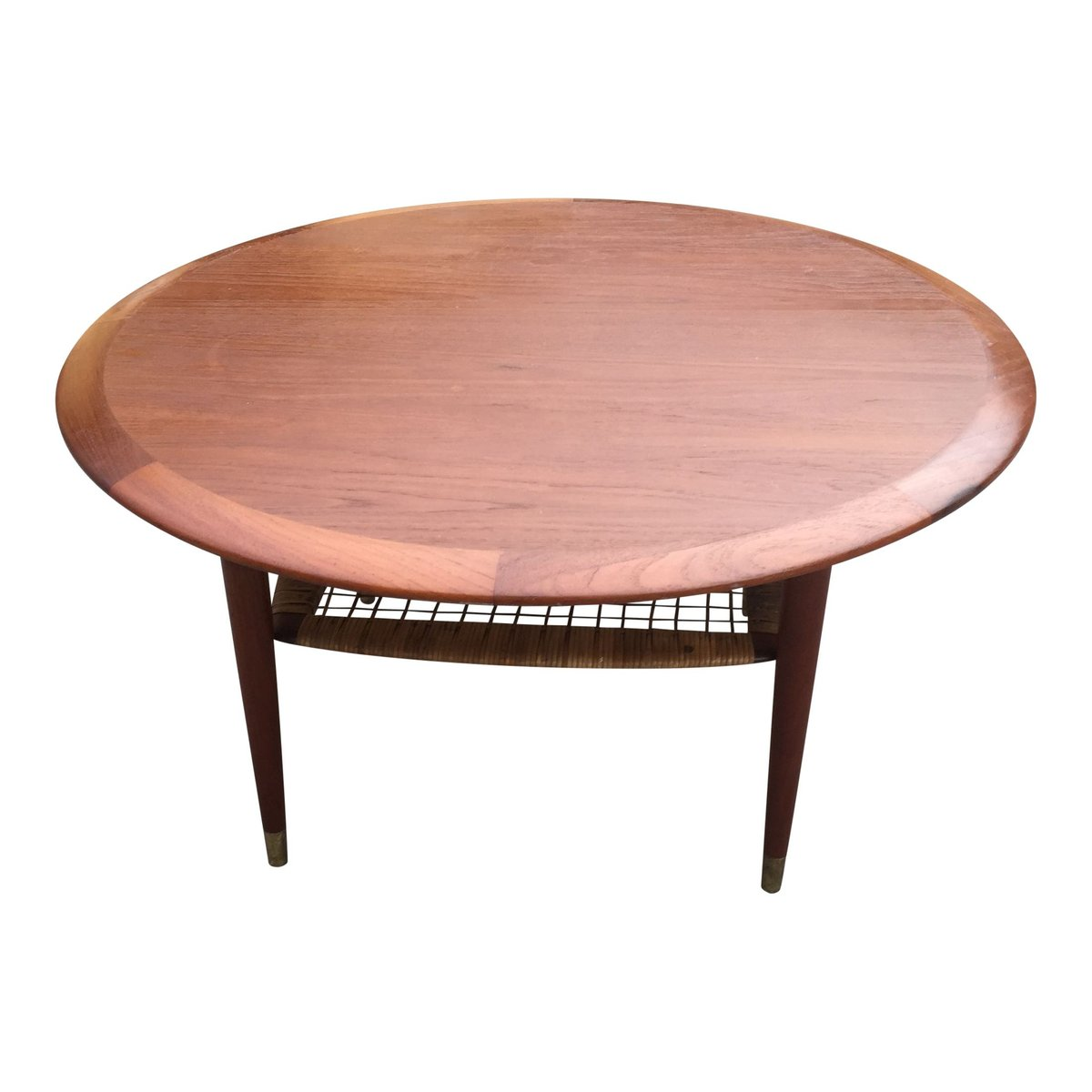 Old Teak Coffee Table: Vintage Danish Round Teak Coffee Table With Shelf For Sale
