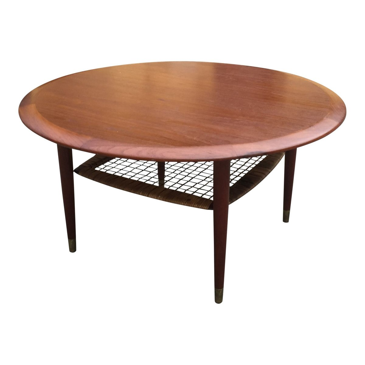 Antique Teak Coffee Table: Vintage Danish Round Teak Coffee Table With Shelf For Sale