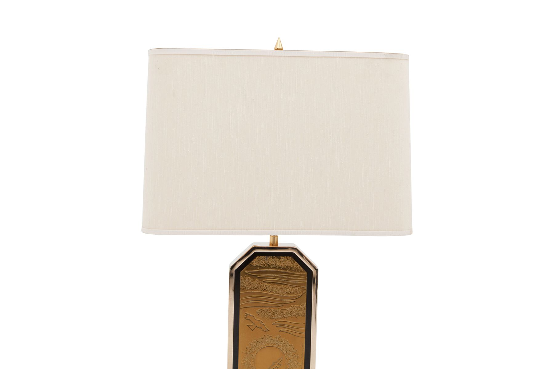 Gold Plated Brass Etched Table Lamp for sale at Pamono
