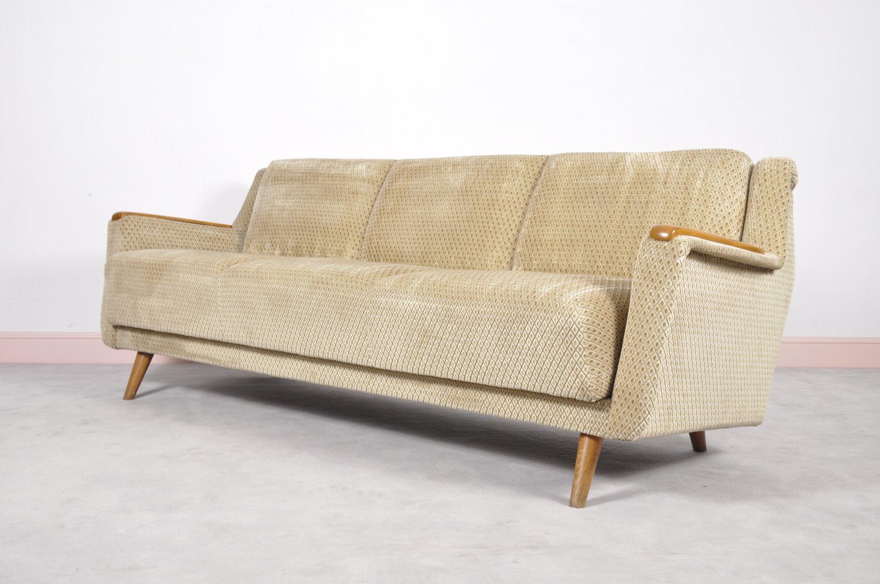Canapé Lit Mid Century Moderne avec Accoudoirs en Chêne