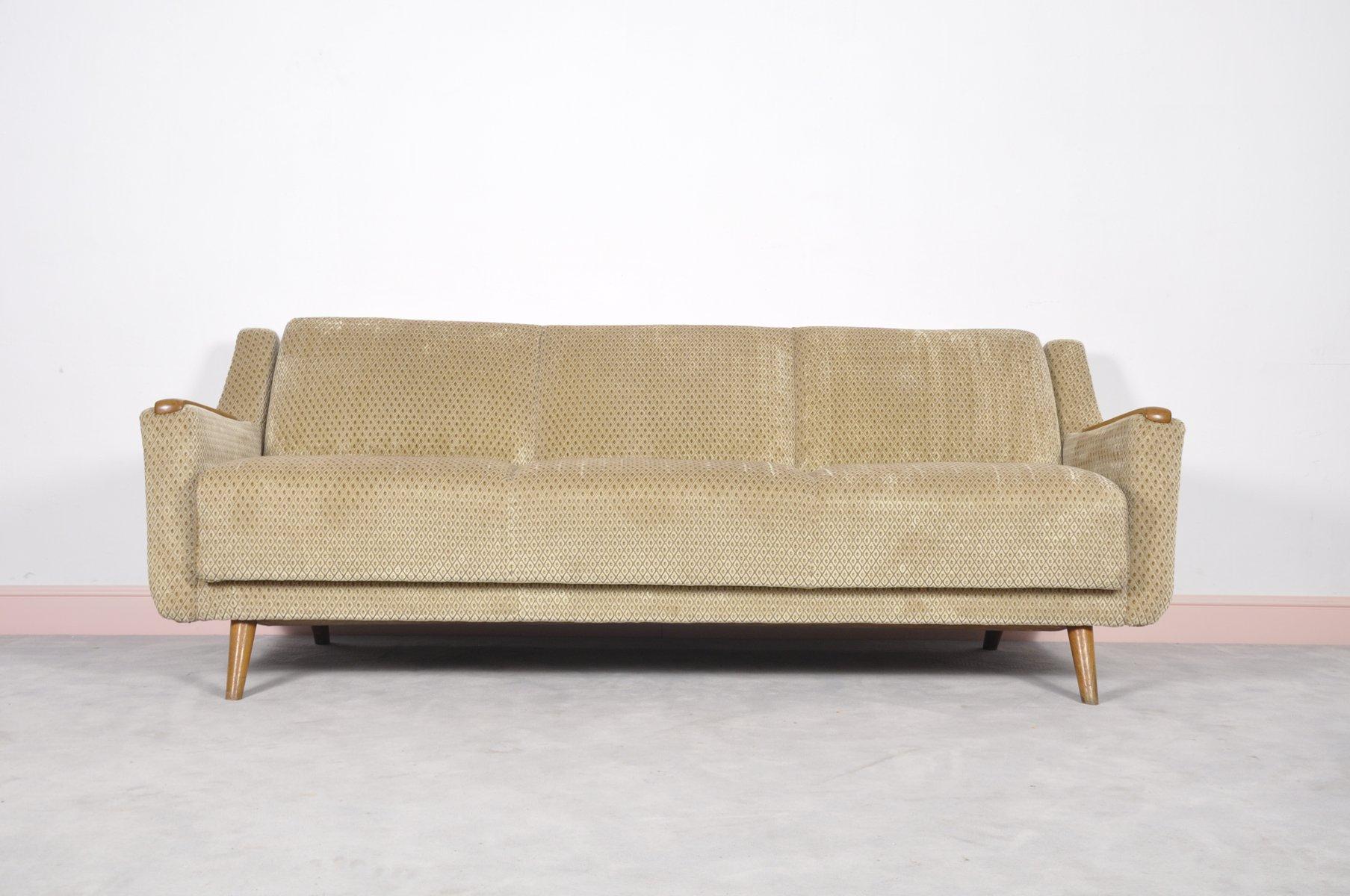 Canap lit mid century moderne avec accoudoirs en ch ne for Canape lit en anglais