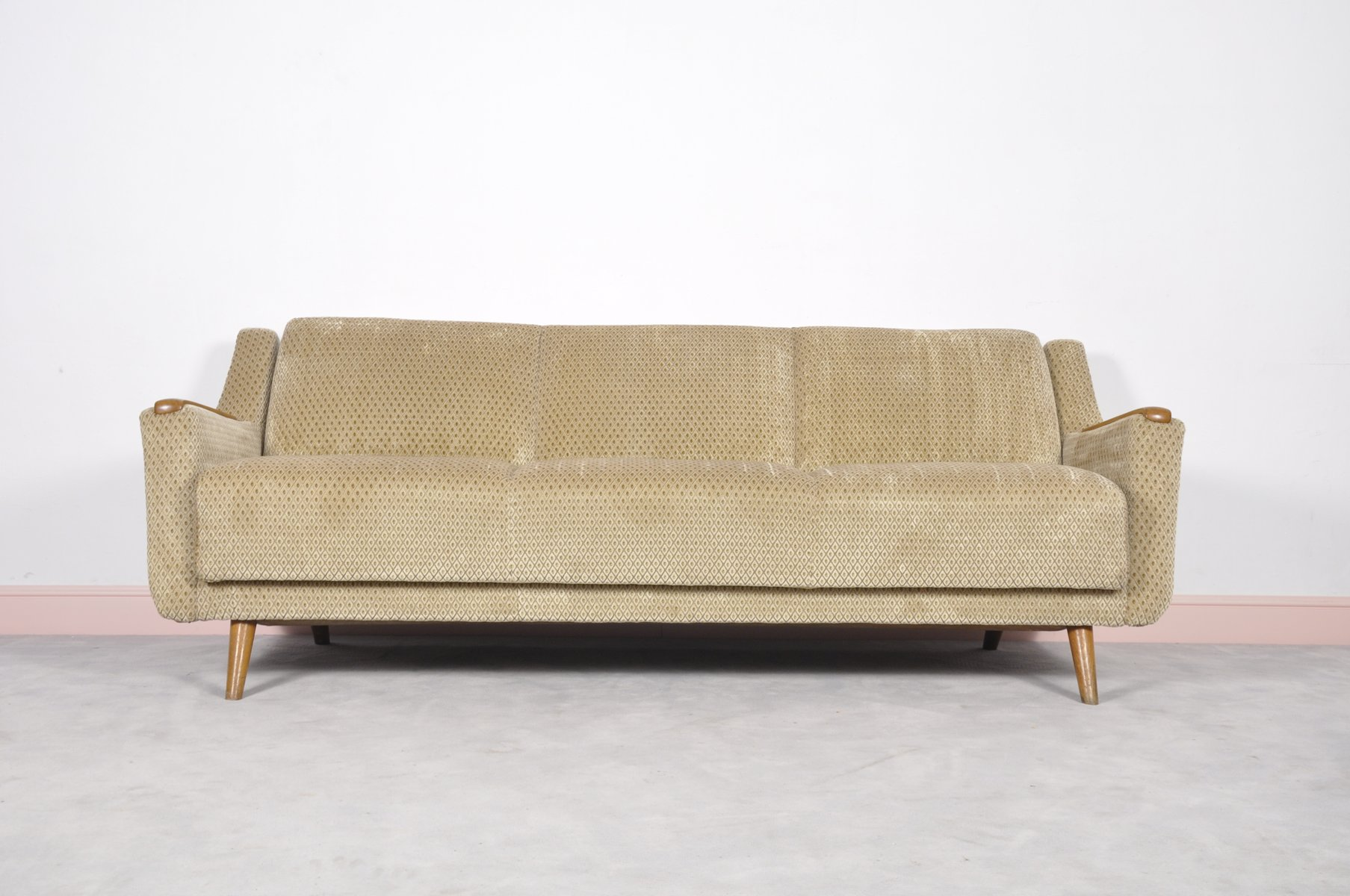 Mid Century Modern Danish Sofa Bed With Oak Arm Rests For
