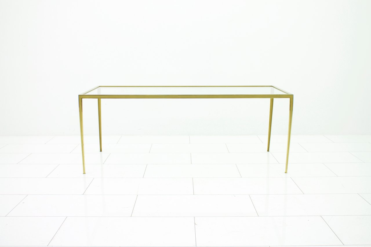 brass and glass sofa table from vereinigte werkstätten s for  - brass and glass sofa table from vereinigte werkstätten s