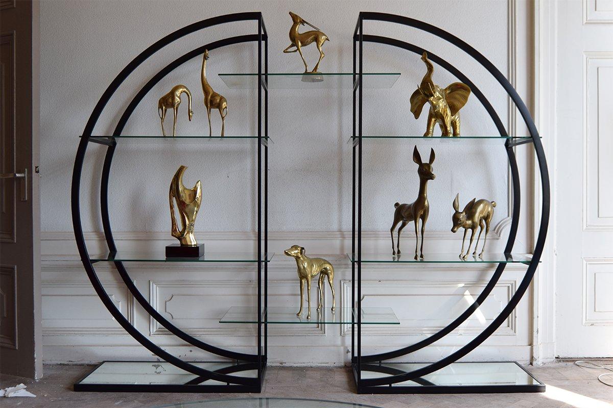 circular black etagere with glass display shelves 1980s. Black Bedroom Furniture Sets. Home Design Ideas